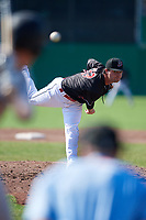 Batavia Muckdogs relief pitcher Evan Estes (33) delivers a pitch during a game against the West Virginia Black Bears on July 1, 2018 at Dwyer Stadium in Batavia, New York.  Batavia defeated West Virginia 8-4.  (Mike Janes/Four Seam Images)