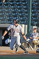 Idaho Falls Chunkars outfielder Lane Adams at bat during a game vs. the Missoula Osprey at Ogren Park at Allegiance Field in Missoula, Montana, on August 16, 2010. Photo By Robert Gurganus/Four Seam Images
