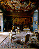 Louis XVI giltwood furniture is grouped around the State Drawing Room at Powis Castle