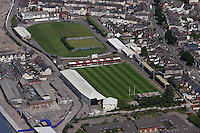 Aerial view of Rodney Parade home ground of Newport Dragons Rugby Football Club in Newport south Wales