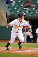 Montgomery Biscuits outfielder Boog Powell (3) at bat during a game against the Tennessee Smokies on May 25, 2015 at Riverwalk Stadium in Montgomery, Alabama.  Tennessee defeated Montgomery 6-3 as the game was called after eight innings due to rain.  (Mike Janes/Four Seam Images)