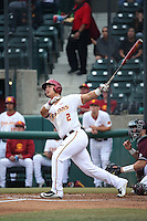 Jeremy Martinez (2) of the Southern California Trojans bats against the Mississippi State Bulldogs at Dedeaux Field on March 5, 2016 in Los Angeles, California. Mississippi State defeated Southern California , 8-7. (Larry Goren/Four Seam Images)