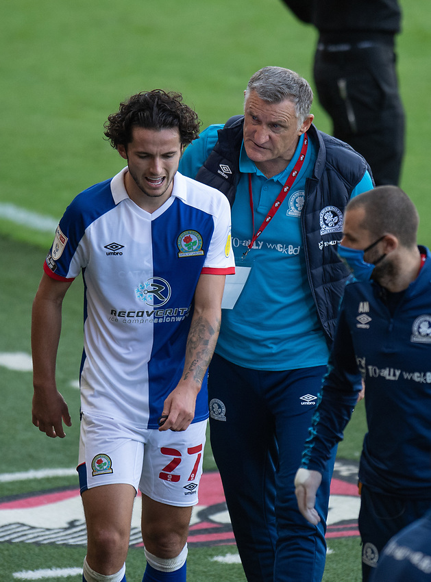 Blackburn Rovers' Lewis Travis coming off after substitution with Blackburn Rovers manager Tony Mowbray <br /> <br /> Photographer David Horton/CameraSport <br /> <br /> The EFL Sky Bet Championship - Bournemouth v Blackburn Rovers - Saturday September 12th 2020 - Vitality Stadium - Bournemouth<br /> <br /> World Copyright © 2020 CameraSport. All rights reserved. 43 Linden Ave. Countesthorpe. Leicester. England. LE8 5PG - Tel: +44 (0) 116 277 4147 - admin@camerasport.com - www.camerasport.com
