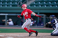 Shortstop Zach Dezenzo (4) of the Ohio State Buckeyes bats in a game against the Illinois Fighting Illini on Friday, March 5, 2021, at Fluor Field at the West End in Greenville, South Carolina. The Illinois catcher is Ryan Hampe. (Tom Priddy/Four Seam Images)