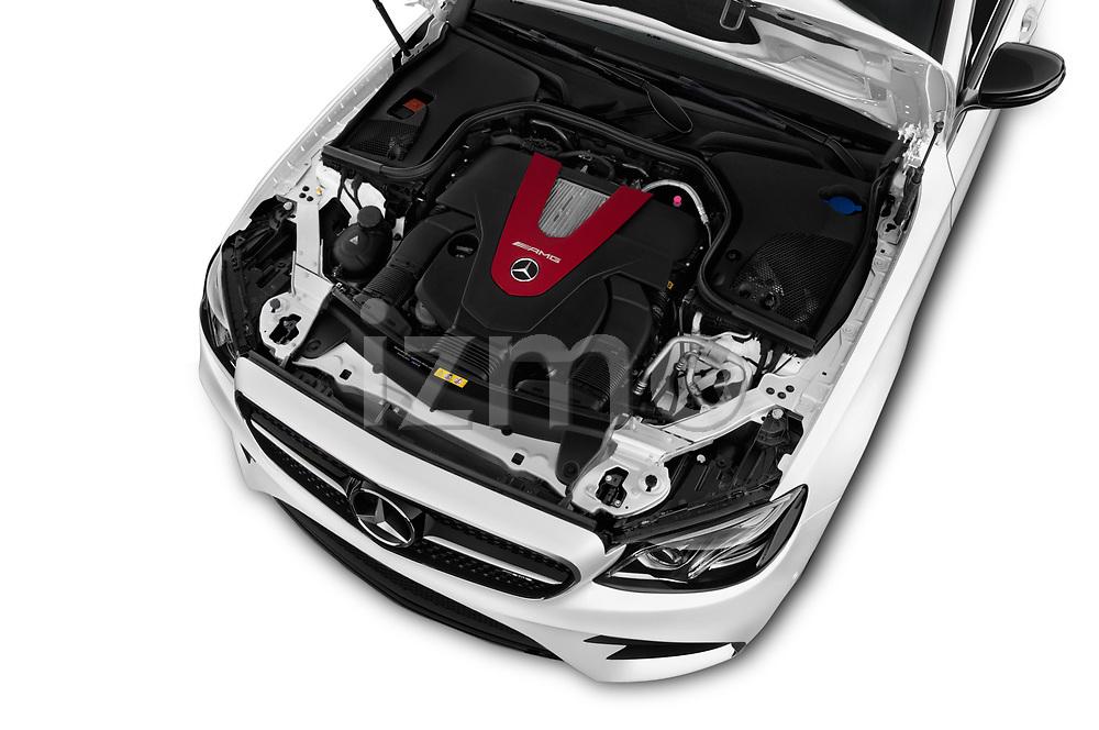 Car stock 2017 Mercedes Benz E Class AMG 43 4 Door Sedan engine high angle detail view