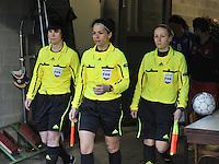 Qualification Women's Euro 2013 - Belgium - Iceland ; Belgie - Ijsland ; Armand Melis Stadion Dessel :.ref Natalia Avdonchenko met assistants Anna Gnevysheva (RUS) en Ekaterina Kurochkina (RUS).foto DAVID CATRY / Vrouwenteam.be