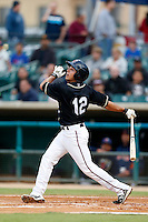 Joe Sclafani #12 of the Lancaster JetHawks bats against the Lake Elsinore Storm at The Hanger on May 9, 2013 in Lancaster, California. Lancaster defeated Lake Elsinore, 10-4. (Larry Goren/Four Seam Images)