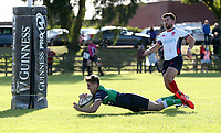 Saturday 26th September 2020 | Malone vs Ballynahinch<br /> <br /> Rhys O'Donnell dives in to score the fourth try for Ballynahinch during the Ulster Senior League fixture between Malone and Ballynahinch at Gibson Park, Belfast, Northern Ireland. Photo by John Dickson / Dicksondigital