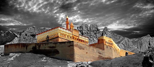 18th Century Ottoman architecture of the Ishak Pasha Palace (Turkish: İshak Paşa Sarayı) ,  Ağrı province of eastern Turkey..