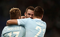 Calcio, Serie A: Roma, stadio Olimpico, 20 settembre 2017.<br /> Lazio's Stefan De Vrij (c) celebrates after scoring with his teammates during the Italian Serie A football match between Lazio and Napoli at Rome's Olympic stadium, September 20, 2017.<br /> UPDATE IMAGES PRESS/Isabella Bonotto