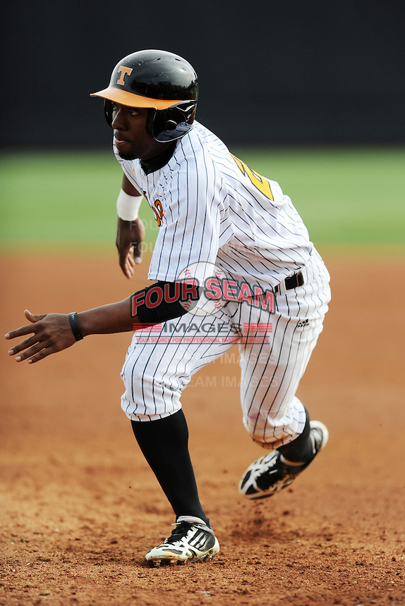 Tennessee Volunteers right fielder Christin Stewart #20 heads back to first during a game against  the Arizona State Sun Devils at Lindsey Nelson Stadium on February 23, 2013 in Knoxville, Tennessee. The Volunteers won 11-2.(Tony Farlow/Four Seam Images).