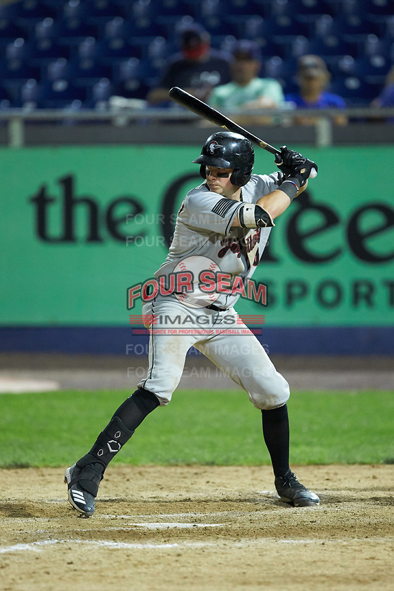 Michael Papierski (28) of the Fayetteville Woodpeckers at bat against the Wilmington Blue Rocks at Frawley Stadium on June 6, 2019 in Wilmington, Delaware. The Woodpeckers defeated the Blue Rocks 8-1. (Brian Westerholt/Four Seam Images)