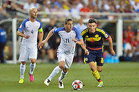 Santa Clara, CA - Friday June 03, 2016: United States midfielder Alejandro Bedoya (11) and Colombia midfielder Daniel Torres (16) during a Copa America Centenario Group A match between United States (USA) and Colombia (COL) at Levi's Stadium.