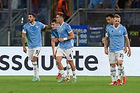 30th September 2021;  Stadio Olimpico, Rome, Italy;Europa League Football, SS Lazio versus Lokomotiv Moscow: Lazio's players celebrate after scoring the goal for 1-0