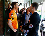 Tom Hannigan of AFC Fylde chatting to Referee Anthony Backhouse before the Vanarama National League North Promotion Final, North Ferriby United v AFC Fylde, 14th May 2016.