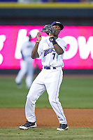 Winston-Salem Dash shortstop Tim Anderson (7) checks the runner at first after catching a pop fly during the game against the Wilmington Blue Rocks at BB&T Ballpark on April 3, 2014 in Winston-Salem, North Carolina.  The Blue Rocks defeated the Dash 3-1.  (Brian Westerholt/Four Seam Images)