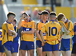 Disappointed Clare lads following their Munster Minor football final loss to Kerry at Pairc Ui Chaoimh. Photograph by John Kelly.