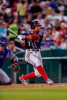 21 September 2018: Washington Nationals infielder Wilmer Difo in action against the New York Mets at Nationals Park in Washington, DC. The Mets defeated the Nationals 4-2 in the second game of their 4-game series. Mandatory Credit: Ed Wolfstein Photo *** RAW (NEF) Image File Available ***