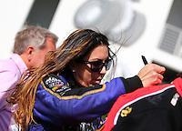 Mar 16, 2014; Gainesville, FL, USA; NHRA funny car driver Alexis DeJoria during the Gatornationals at Gainesville Raceway Mandatory Credit: Mark J. Rebilas-USA TODAY Sports