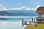 Austria, Upper Austria, Salzkammergut, Attersee at lake Attersee: bathing house | Oesterreich, Oberoesterreich, Salzkammergut, Attersee am Attersee: Badehaus