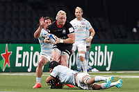 26th September 2020, Paris La Défense Arena, Paris, France; Champions Cup rugby semi-final, Racing 92 versus Saracens; Koch (Saracens) tackled by Camille Chat (Racing 92)