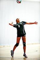 Otumoetai's Roebi Bidois serves to Kawerau during the North Island Secondary Schools Junior volleyball tournament at ASB Sports Centre, Kilbirnie, New Zealand on Wednesday, 28 November 2012. Photo: Dave Lintott / lintottphoto.co.nz