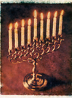 Hanukkah Menorah - Polaroid Transfer<br /> <br /> AVAILABLE FROM JEFF AS A FINE ART PRINT<br /> <br /> AVAILABLE FOR COMMERCIAL AND EDITORIAL LICENSING EXCLUSIVELY FROM GETTY IMAGES.  Please search for image # 10035227 on www.gettyimages.com.