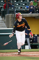 Austin Russ #16 of the Southern California Trojans bats against the Coppin State Eagles at Dedeaux Field on February 18, 2017 in Los Angeles, California. Southern California defeated Coppin State, 22-2. (Larry Goren/Four Seam Images)