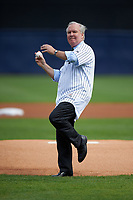 Tampa mayor Bob Buckhorn throws out a ceremonial first pitch before a New York Yankees Spring Training game against the Detroit Tigers on March 2, 2016 at George M. Steinbrenner Field in Tampa, Florida.  New York defeated Detroit 10-9.  (Mike Janes/Four Seam Images)