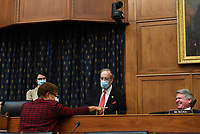 United States Representative Karen Bass (Democrat of California)., talks with US Representative Eliot Engel (Democrat of New York), Chairman, US Souse Committee on Foreign Affairs, and US Representative Michael McCaul (Republican of Texas), Ranking Member, US House Committee on Foreign Affairs, before a House Committee on Foreign Affairs hearing looking into the firing of State Department Inspector General Steven Linick, on Capitol Hill in Washington, D.C. on Wednesday, September 16, 2020. <br /> Credit: Kevin Dietsch / Pool via CNP /MediaPunch