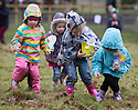 03/04/15<br /> <br /> ***PHOTO ORDER - F.A.O. MATT FEARN***<br /> <br /> L/R: Lola Parkin (3), Ava Bunting (3), Molly Bunting (5) and Esme Weaver (4).<br /> <br /> Children brave the rain to take part in a Good Friday  Easter Egg hunt at Chatsworth House in the Derbyshire Peak District.<br /> <br /> All Rights Reserved - F Stop Press.  www.fstoppress.com. Tel: +44 (0)1335 418629 +44(0)7765 242650