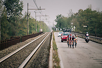 day-long breakaway group consisiting of: <br /> Thomas de Gendt (BEL/Lotto-Soudal), Willie Smit (ZAF/Katusha-Alpecin), Krists Neilands (LAT/Israel Cycling Academy) & Umberto Orsini (ITA/Bardiani - CSF)<br /> <br /> 99th Milano - Torino 2018 (ITA)<br /> from Magenta to Superga: 200km