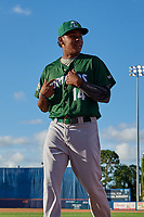 Daytona Tortugas pitcher Wennington Romero (14) walks to the dugout before a game against the St. Lucie Mets on August 3, 2018 at First Data Field in Port St. Lucie, Florida.  Daytona defeated St. Lucie 3-2.  (Mike Janes/Four Seam Images)
