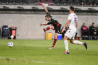 19th March 2021; Bankwest Stadium, Parramatta, New South Wales, Australia; A League Football, Western Sydney Wanderers versus Perth Glory; Mitch Duke of Western Sydney Wanderers shoots as Nick Sullivan of Perth Glory approaches