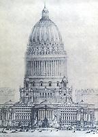 Burnham Plan:  Chicago--The Proposed Civic Center, elevation.  P. 112.