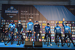 Movistar Team at sign on before the start of the 76th edition of Omloop Het Nieuwsblad 2021 running 200km from Gent to Ninove, Belgium. 27th February 2021  <br /> Picture: Serge Waldbillig | Cyclefile<br /> <br /> All photos usage must carry mandatory copyright credit (© Cyclefile | Serge Waldbillig)