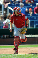 Reading Phillies catcher Tommy Joseph #12 during a game versus the Portland Sea Dogs at Hadlock Field in Portland, Maine on September 3, 2012.  (Ken Babbitt/Four Seam Images)