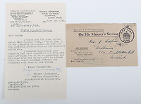 BNPS.co.uk (01202) 558833. <br /> Pic: C&TAuctions/BNPS<br /> <br /> Pictured: A letter sent to Joan from the RAF Central Depository promising to develop a film and keep the prints and negatives with Flight Sergeant Eric Redfern personal effects. <br /> <br /> The poignant archive of a tragic Battle of Britain hero has been discovered in a suitcase.<br /> <br /> Flight Sergeant Eric Redfern had been married to Joan Preston for a few weeks when he was shot down and killed in 1941.<br /> <br /> The 27 year old Hurricane pilot was ambushed by German fighters during a raid on enemy supply vessels at Le Touquet in northern France.