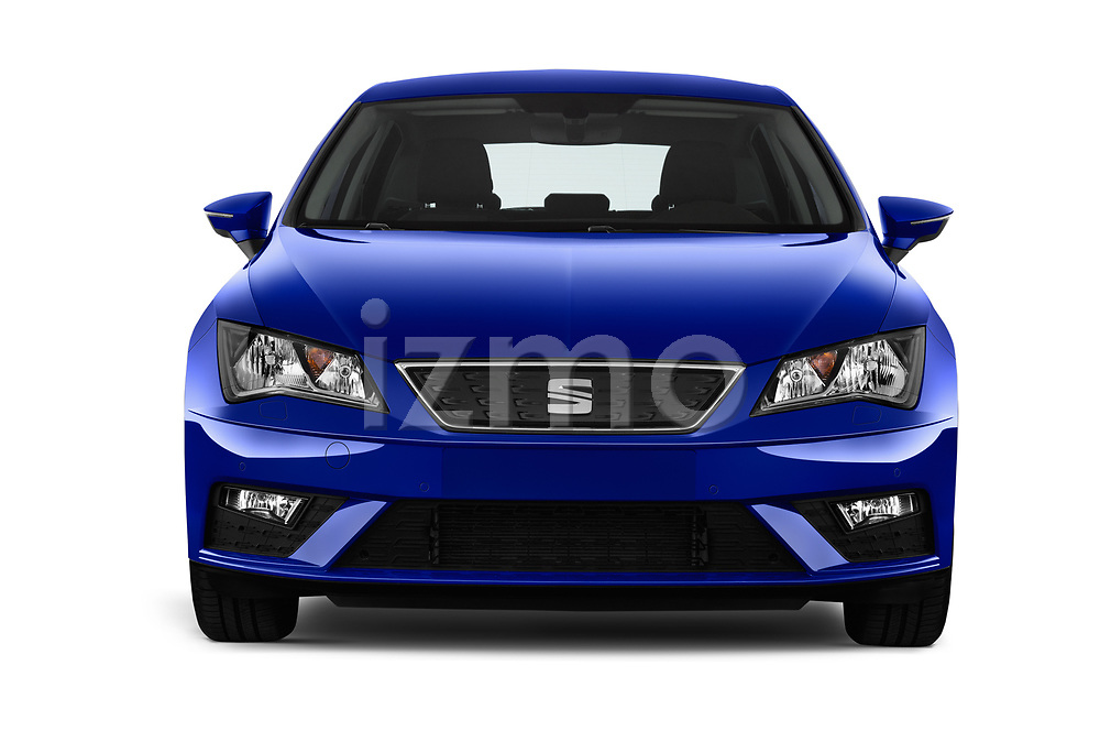 Car photography straight front view of a 2017 Seat Leon Style 5 Door Hatchback Front View