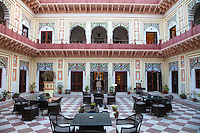 Bharatpur, Rajasthan, India.  Inner Court of the Laxmi Vilas Palace, a Heritage Hotel.