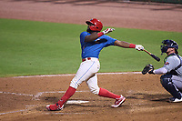 Clearwater Threshers D.J. Stewart (12) hits a game winning walk-off home run during a game against the Lakeland Flying Tigers on May 5, 2021 at BayCare Ballpark in Clearwater, Florida.  (Mike Janes/Four Seam Images)