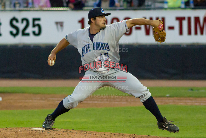 Lake County Captains pitcher Caleb Hamrick (45) delivers a pitch during a Midwest League game against the Wisconsin Timber Rattlers on June 3rd, 2015 at Fox Cities Stadium in Appleton, Wisconsin. Wisconsin defeated Lake County 3-2. (Brad Krause/Four Seam Images)