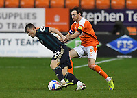 Blackpool's James Husband battles with Leeds United's Joseph Gelhardt<br /> <br /> Photographer Dave Howarth/CameraSport<br /> <br /> EFL Trophy - Northern Section - Group G - Blackpool v Leeds United U21 - Wednesday 11th November 2020 - Bloomfield Road - Blackpool<br />  <br /> World Copyright © 2020 CameraSport. All rights reserved. 43 Linden Ave. Countesthorpe. Leicester. England. LE8 5PG - Tel: +44 (0) 116 277 4147 - admin@camerasport.com - www.camerasport.com