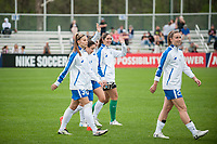 Kansas City, MO - Sunday April 16, 2017: Kylie Strom, Adriana Leon, Morgan Andrews during a regular season National Women's Soccer League (NWSL) match between FC Kansas City and the Boston Breakers at Children's Mercy Victory Field.