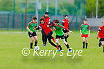 Park B's Cyprian Tybefski been challenged by Diarmuid Fitzgerald of Camp United in the first U14 game as they return to the U14 soccer league in Christy Leahy Park on Bank Holiday Monday.