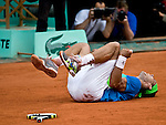 June 6, 2010.Rafael Nadal of Spain, shouts and falls to the court after defeating Robin Soderling of Sweden, 6-4, 6-2, 6-4, in the final of the French Open, played at Stade Roland Garros, Paris France