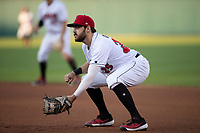 Will Craig (25) of the Indianapolis Indians on defense at Victory Field on May 14, 2019 in Indianapolis, Indiana. The Indians defeated the RailRiders 4-2. (Andrew Woolley/Four Seam Images)