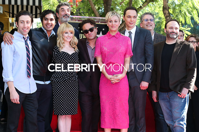 HOLLYWOOD, LOS ANGELES, CA, USA - OCTOBER 29: Simon Helberg, Kunal Nayyar, Melissa Rauch, Chuck Lorre, Johnny Galecki, Kaley Cuoco, Jim Parsons at the ceremony honoring Kaley Cuoco with a star in the Hollywood Walk Of Fame on October 29, 2014 in Hollywood, Los Angeles, California, United States. (Photo by Xavier Collin/Celebrity Monitor)
