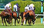 July 10, 2021: Santa Barbara (IRE) #5, ridden by jockey Ryan Moore wins the Belmont Oaks Invitational (Grade 1) at Belmont Park in Elmont, New York on July 10, 2021. Dan Heary/Eclipse Sportswire/CSM