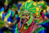 An Afro-Colombian dancer of the Pandeyuca neighborhood takes part in the San Pacho festival in Quibdó, Colombia, 29 September 2019. Every year at the turn of September and October, the capital of the Pacific region of Chocó holds the celebrations in honor of Saint Francis of Assisi (locally named as San Pacho), recognized as Intangible Cultural Heritage by UNESCO. Each day carnival groups, wearing bright colorful costumes and representing each neighborhood, dance throughout the city, supported by brass bands playing live music. The festival culminates in a traditional boat ride on the Atrato River, followed by massive religious processions, which accent the pillars of Afro-Colombian's identity – the Catholic devotion grown from African roots.